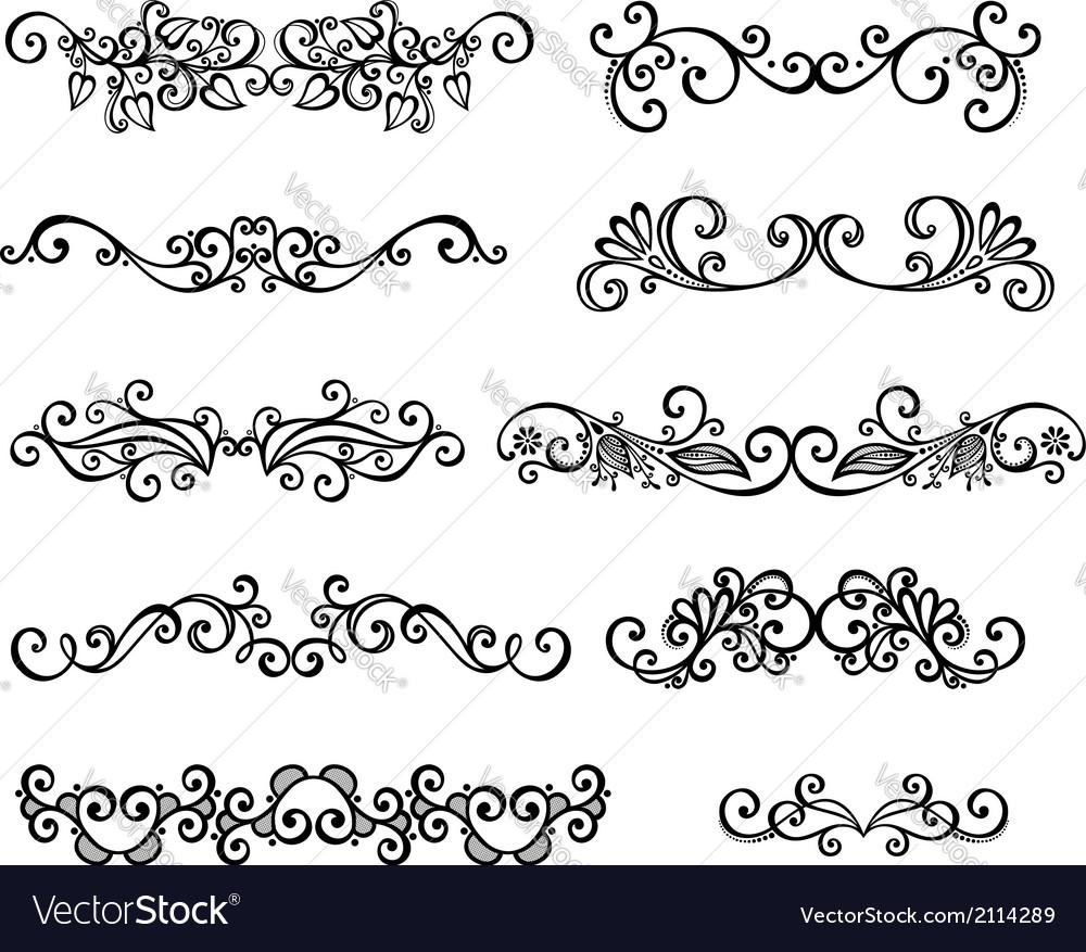 Set of calligraphic borders vector | Price: 1 Credit (USD $1)