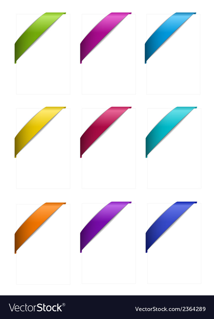 Set of corner ribbons in metallic colors vector | Price: 1 Credit (USD $1)