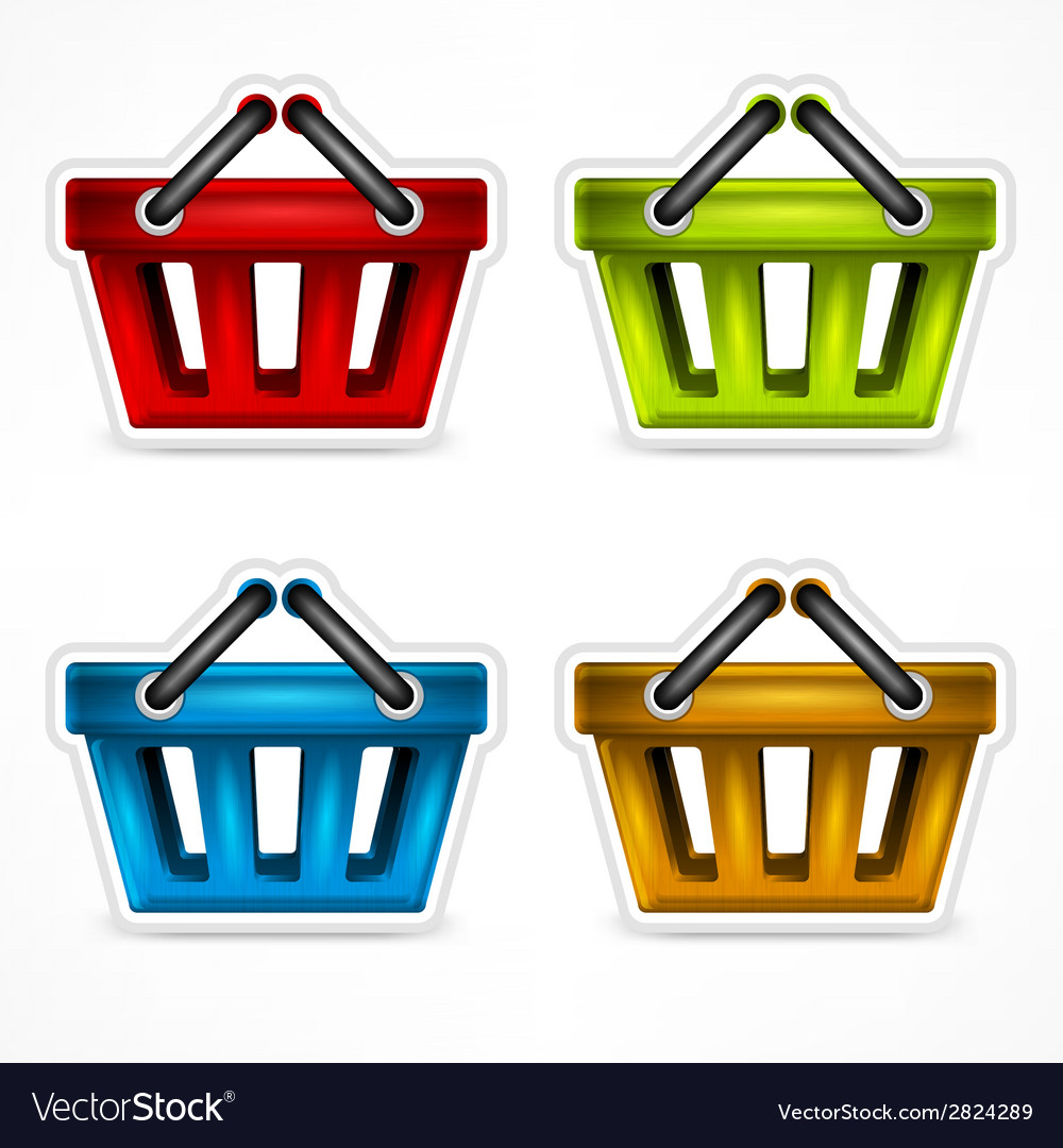 Shopping colour baskets vector | Price: 1 Credit (USD $1)