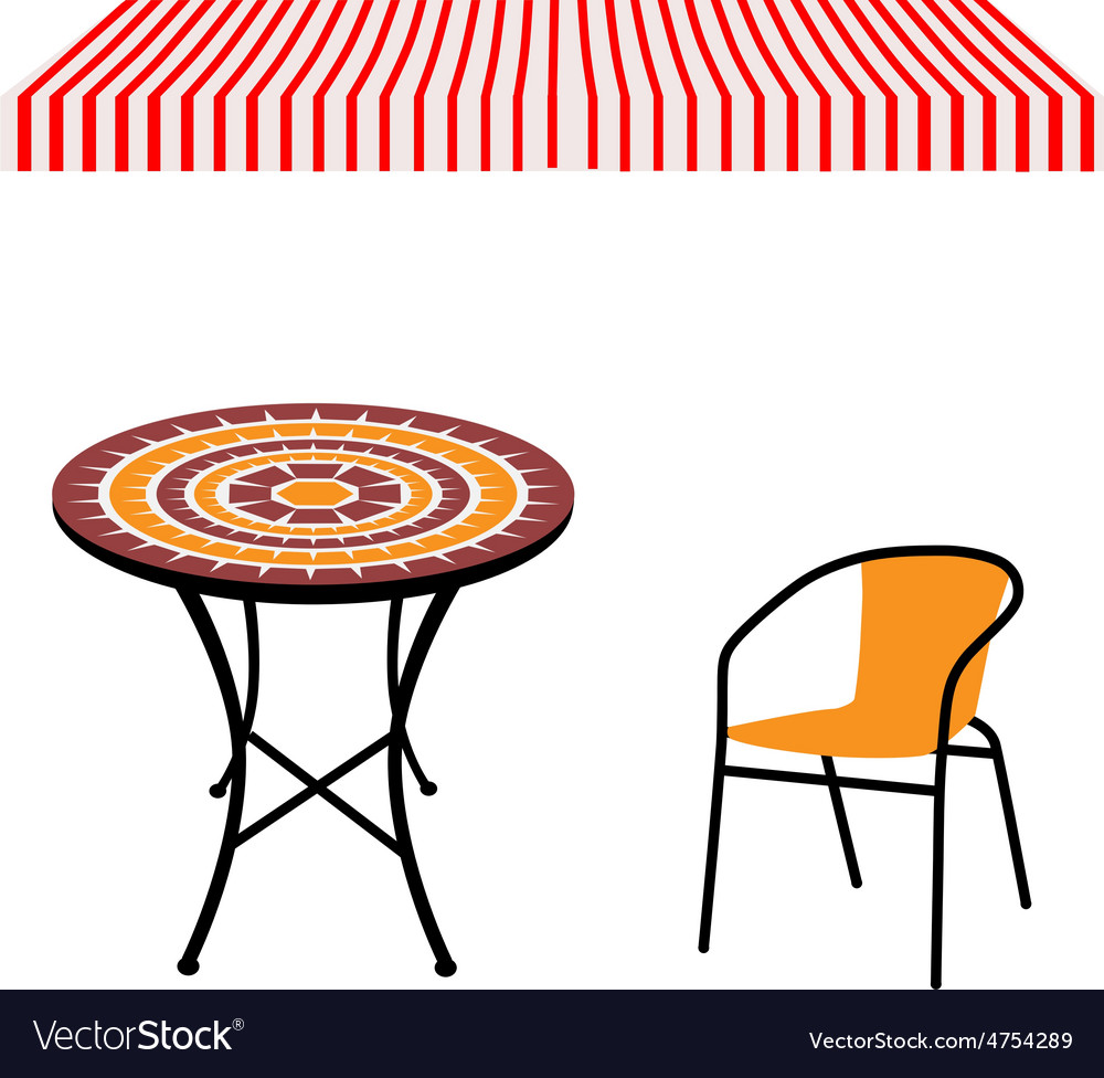 Table chair and awning vector | Price: 1 Credit (USD $1)