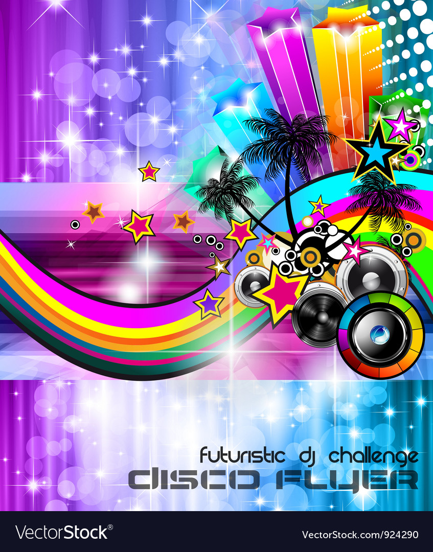Beach disco party poster vector | Price: 1 Credit (USD $1)