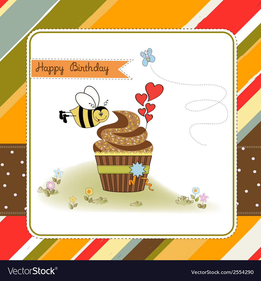 Birthday greeting card with cupcake and funny bee vector | Price: 1 Credit (USD $1)