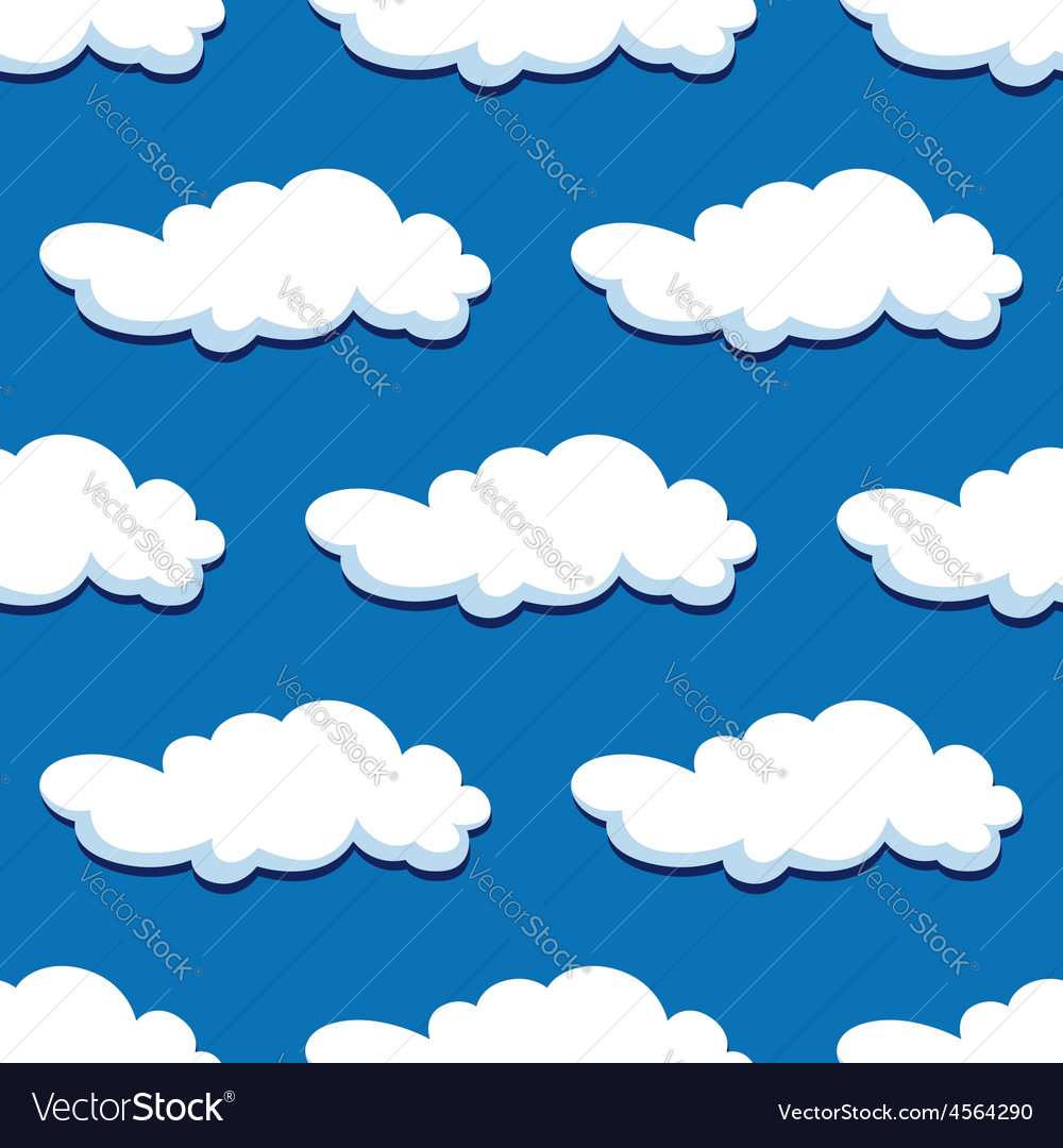 Blue cloudy sky seamless pattern vector | Price: 1 Credit (USD $1)