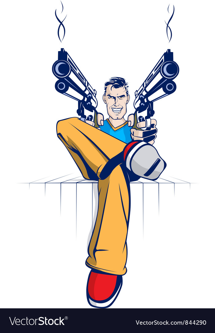 Cartoon gun gangsters vector | Price: 3 Credit (USD $3)