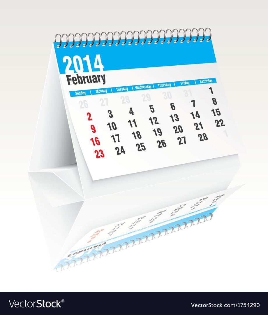 February 2014 desk calendar vector | Price: 1 Credit (USD $1)
