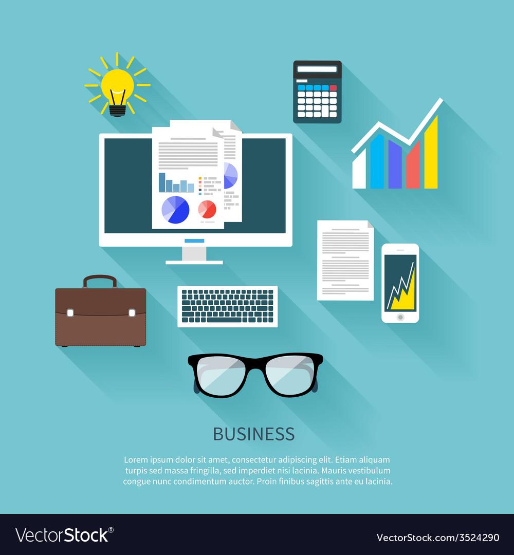 Financier workplace flat design concept vector | Price: 1 Credit (USD $1)