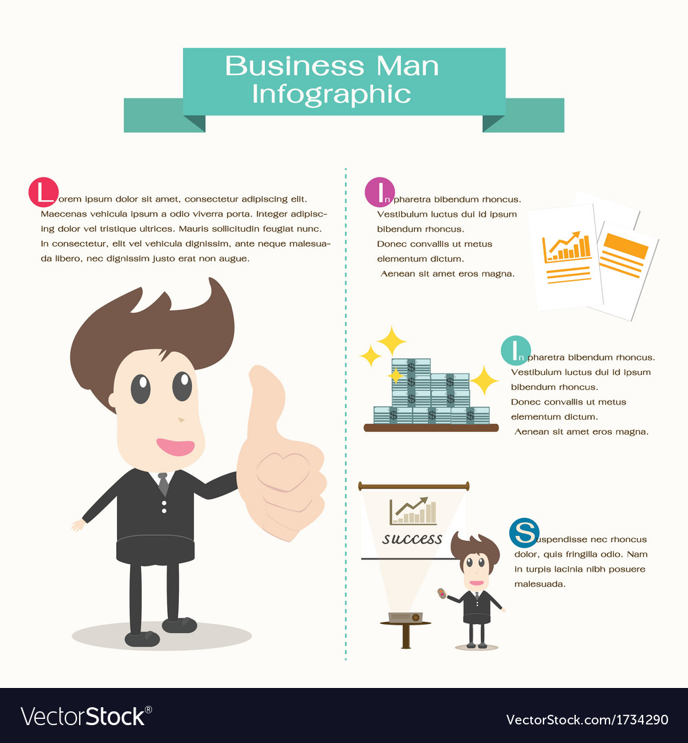 Infographic business man business concept vector | Price: 1 Credit (USD $1)