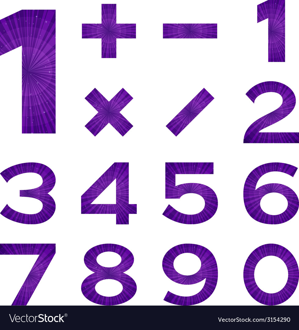Numbers set violet space vector | Price: 1 Credit (USD $1)