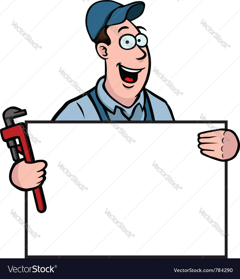 Plumber with sign vector | Price: 1 Credit (USD $1)