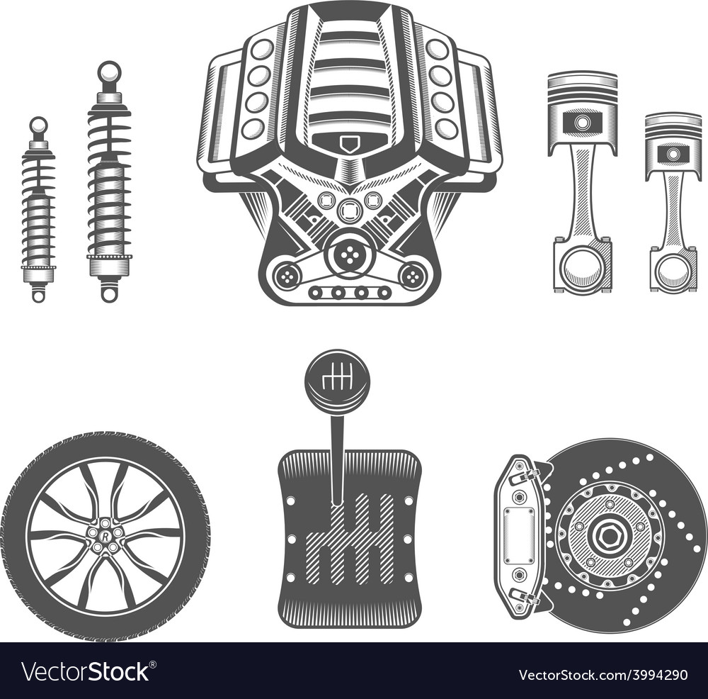 Set of spare parts for car vector | Price: 1 Credit (USD $1)