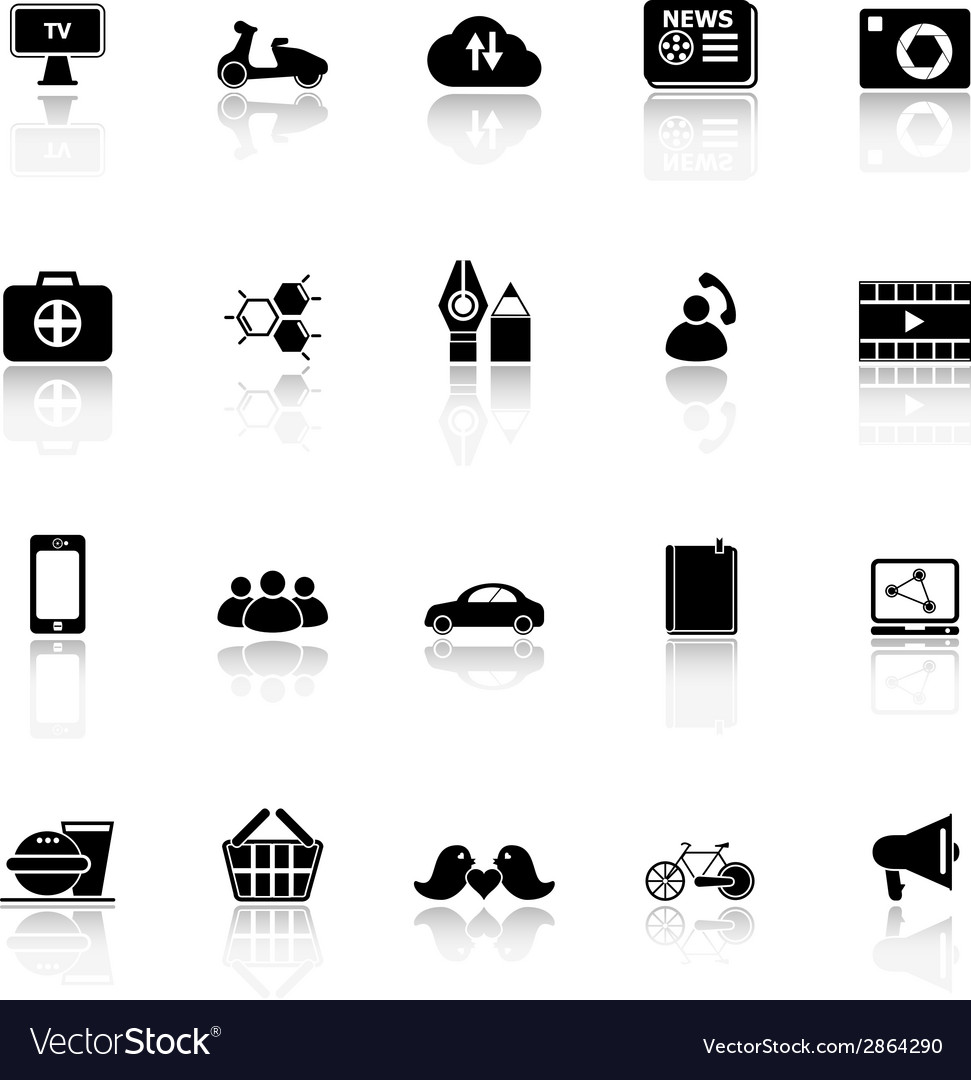 Social network icons with reflect on white vector | Price: 1 Credit (USD $1)