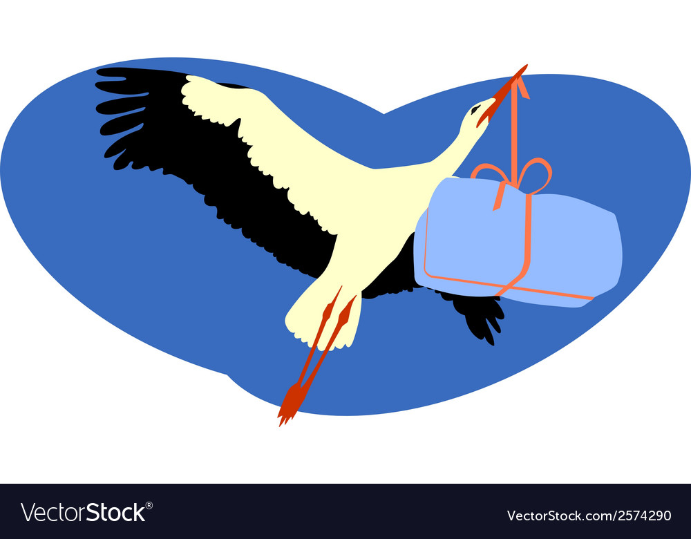 Stork delivering a package vector | Price: 1 Credit (USD $1)