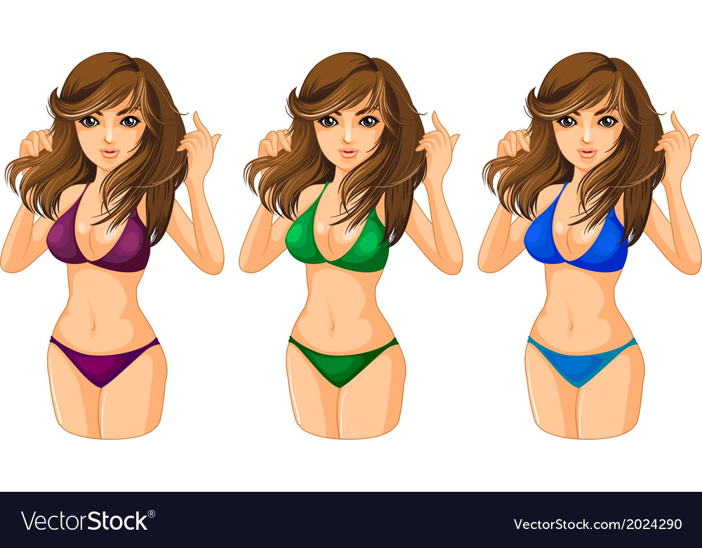 Three ladies wearing a swimwear vector | Price: 3 Credit (USD $3)