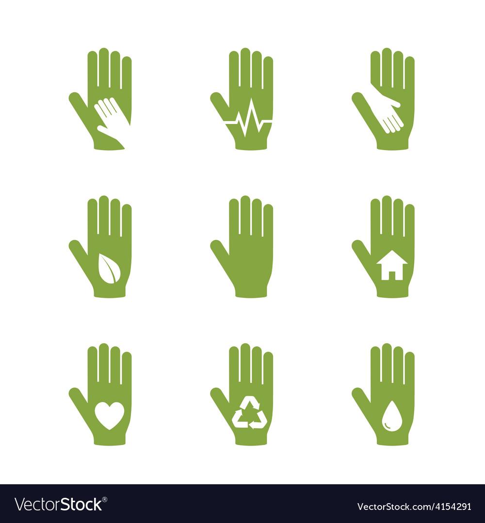 Caring hand logos set vector | Price: 1 Credit (USD $1)