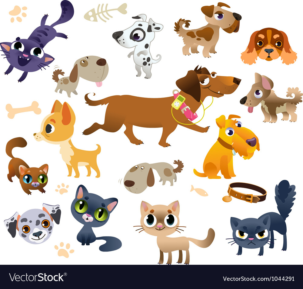 Collection of cats and dogs vector | Price: 3 Credit (USD $3)