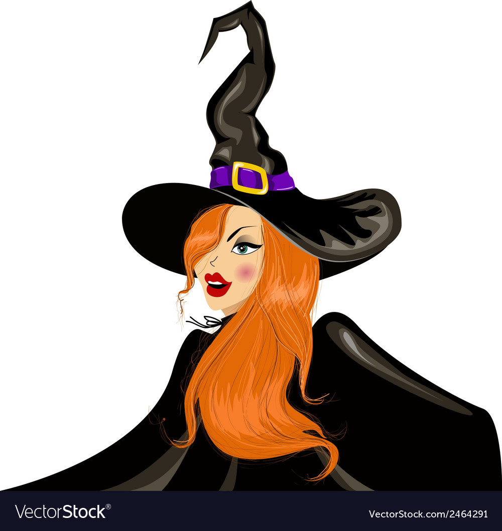 Halloween witch in the hat vector | Price: 1 Credit (USD $1)