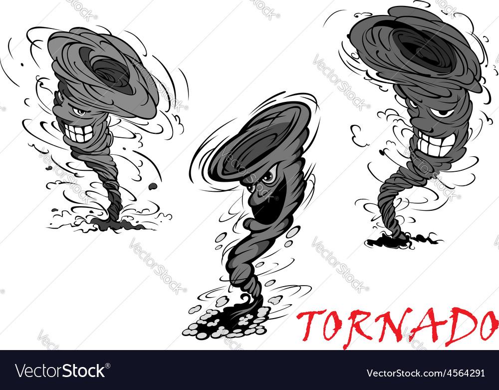 Nasty cartoon tornado hurricane and thunderstorm vector | Price: 1 Credit (USD $1)
