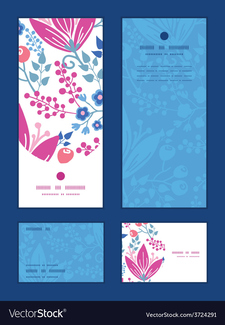 Pink flowers vertical frame pattern vector | Price: 1 Credit (USD $1)
