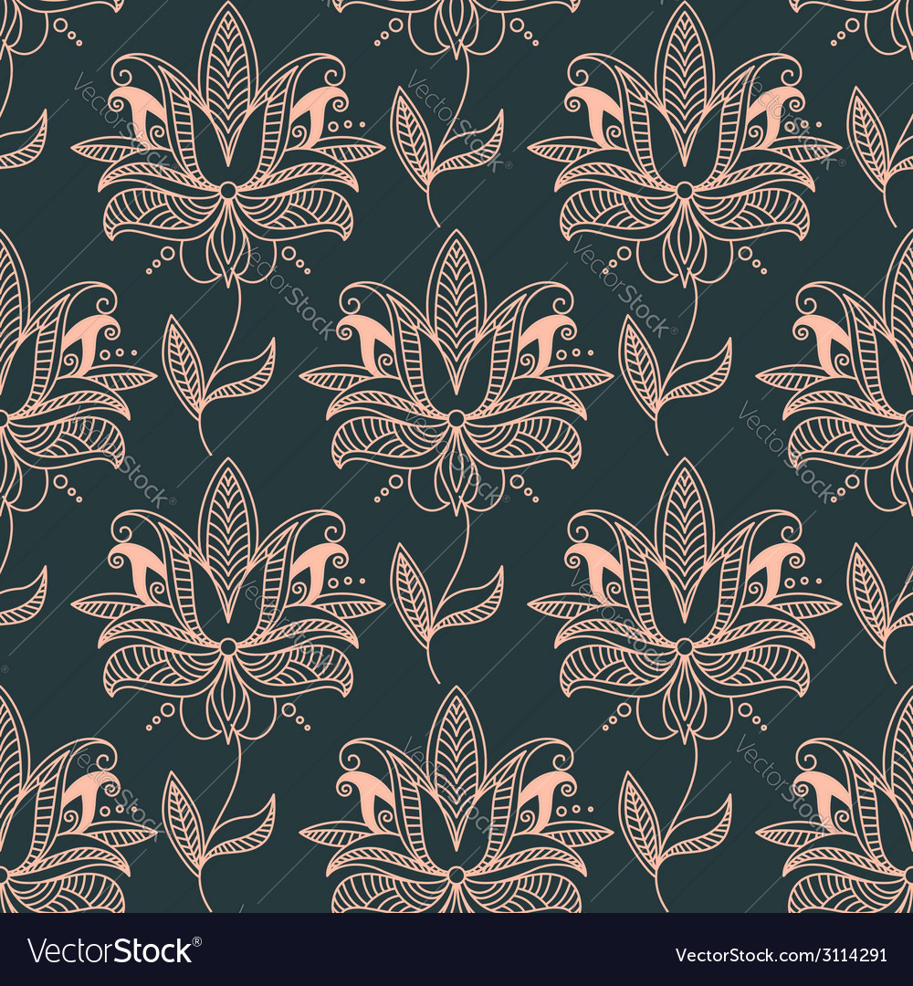 Repeat seamless floral background pattern vector | Price: 1 Credit (USD $1)