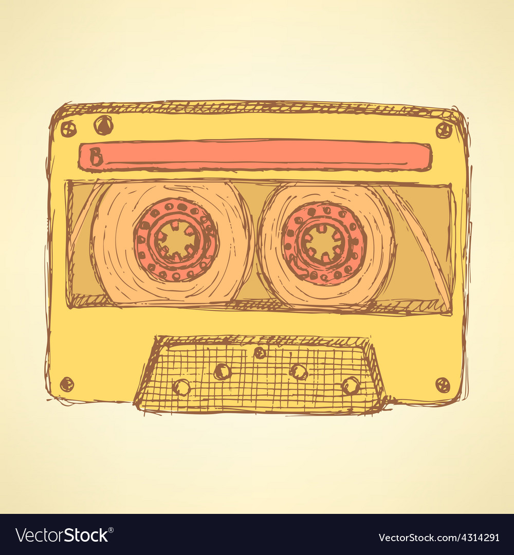 Sketch record cassette vector | Price: 1 Credit (USD $1)