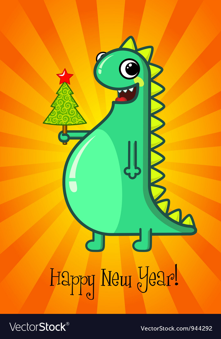 Dragon and christmas tree vector | Price: 3 Credit (USD $3)