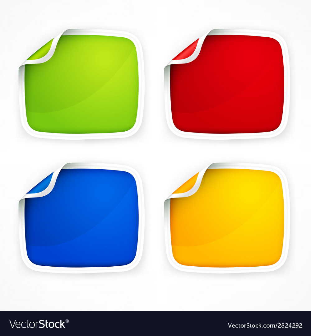 Four colored stickers vector   Price: 1 Credit (USD $1)