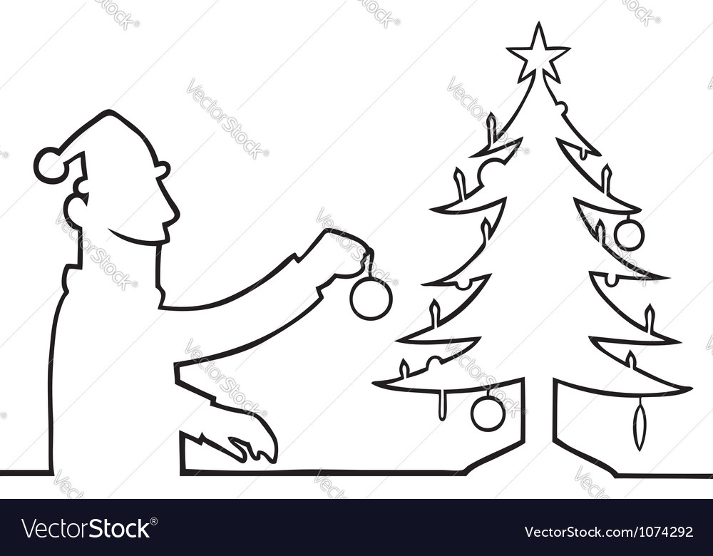 Man decorating christmas tree vector | Price: 1 Credit (USD $1)