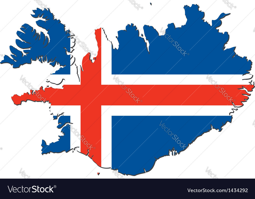 Map of iceland with national flag vector | Price: 1 Credit (USD $1)