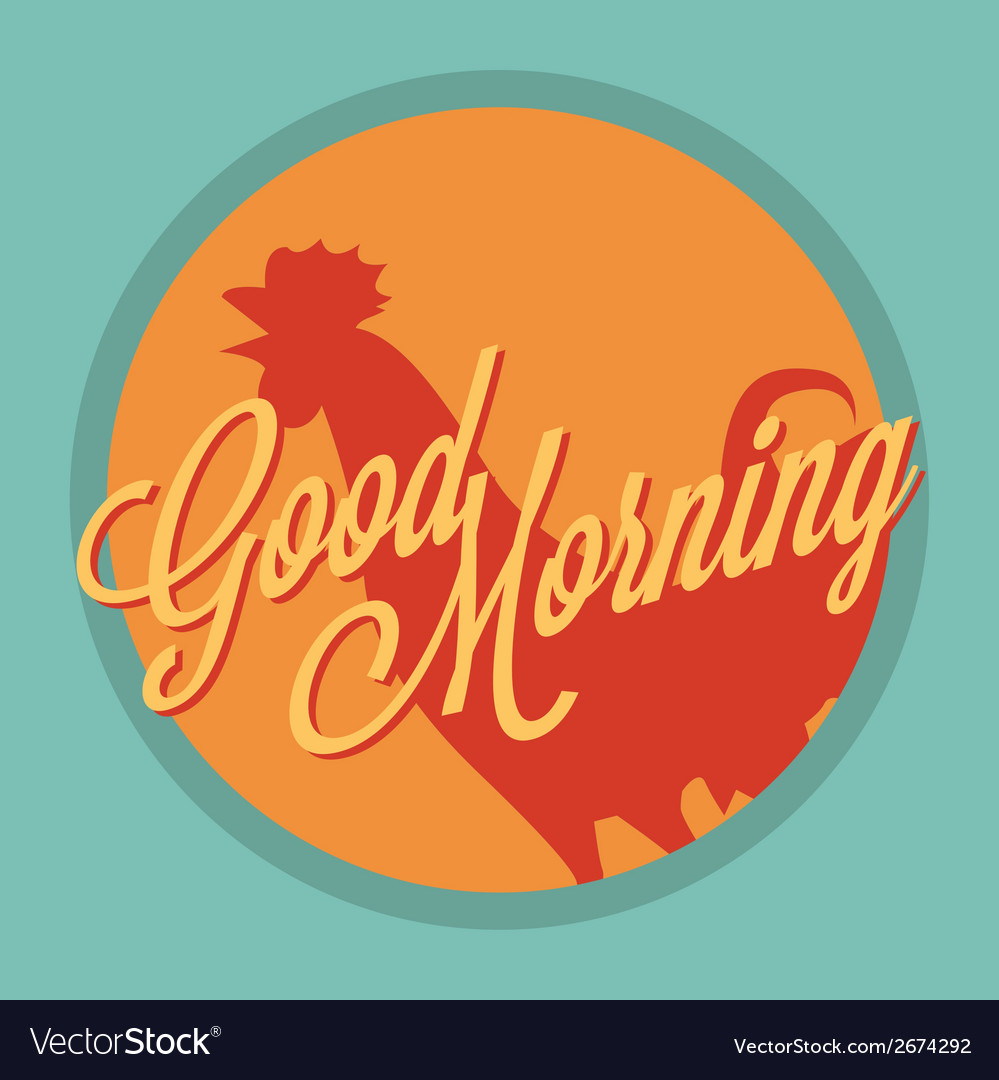 Rooster and sun good morning vintage style vector | Price: 1 Credit (USD $1)