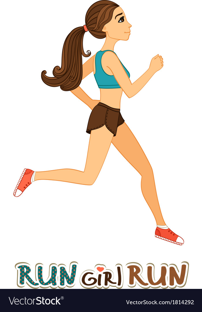 Running girl isolated vector | Price: 1 Credit (USD $1)