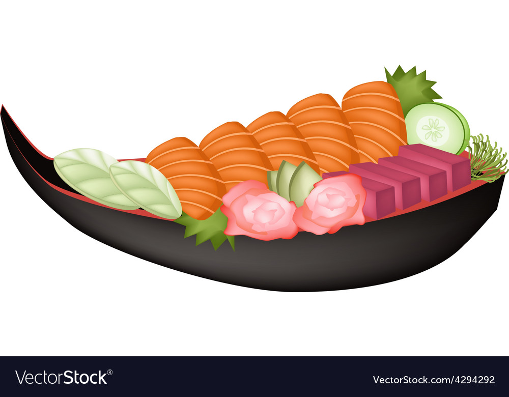 Salmon sashimi and tuna sasimi on wooden boat vector | Price: 1 Credit (USD $1)