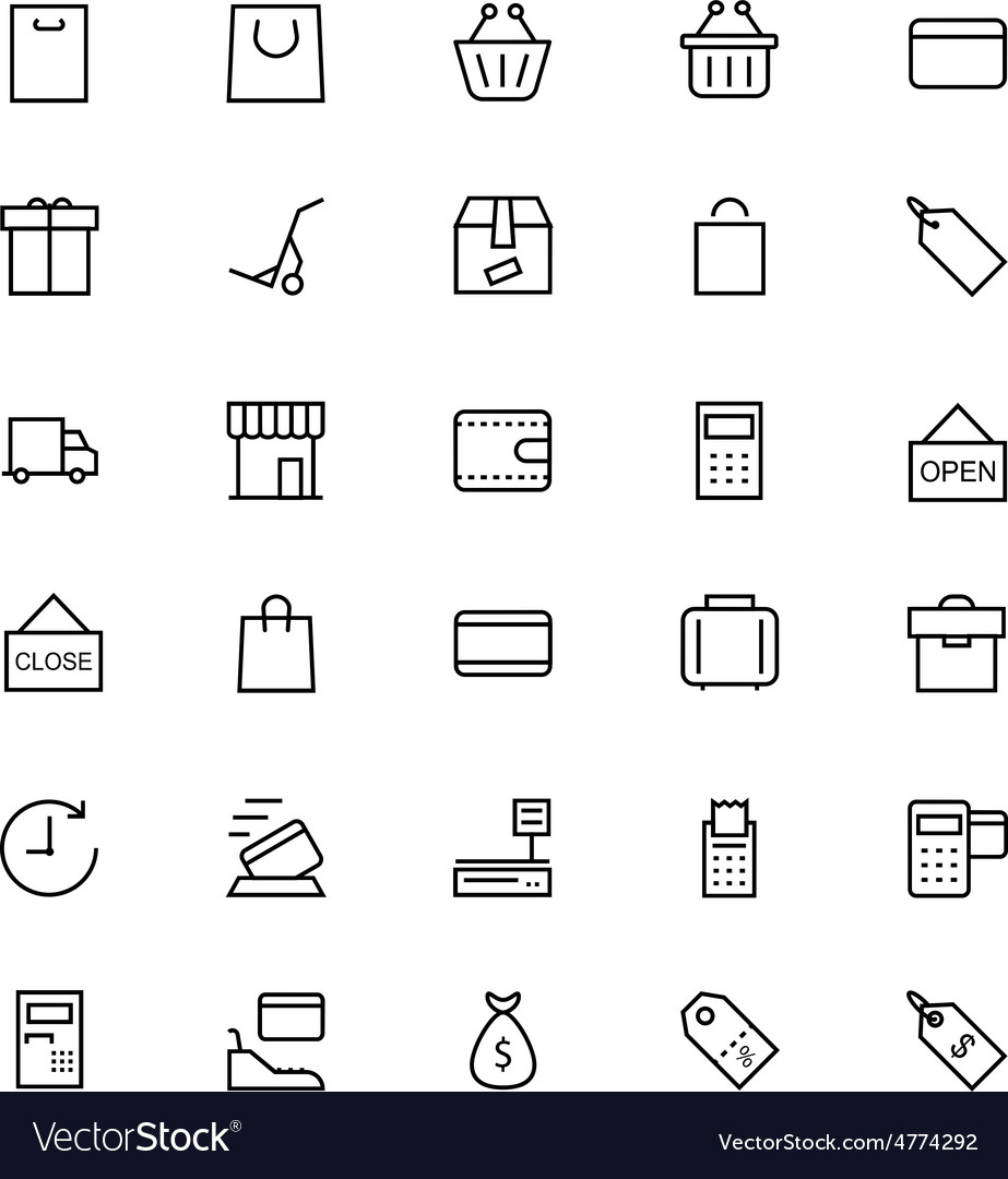 Shopping and commerce line icons 1 vector | Price: 1 Credit (USD $1)