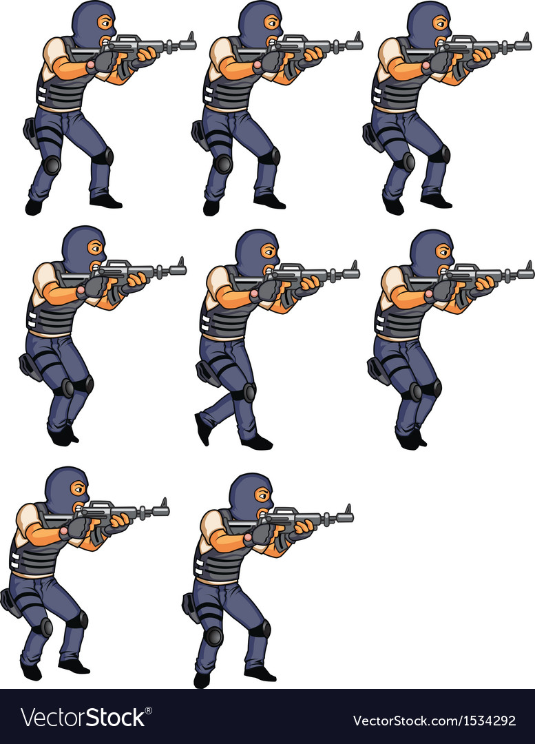 Swat officer walking animation vector | Price: 1 Credit (USD $1)