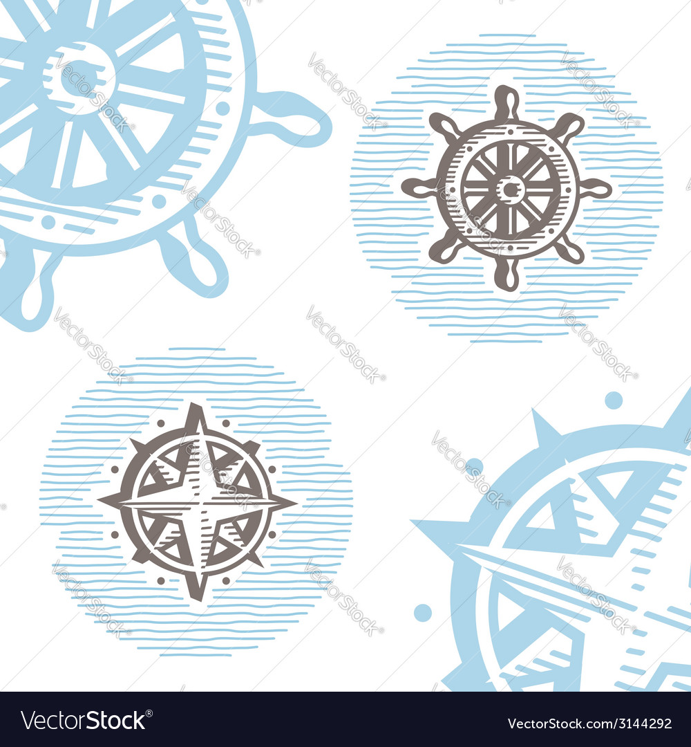 Vintage marine symbols icon set engraving wheel vector | Price: 1 Credit (USD $1)