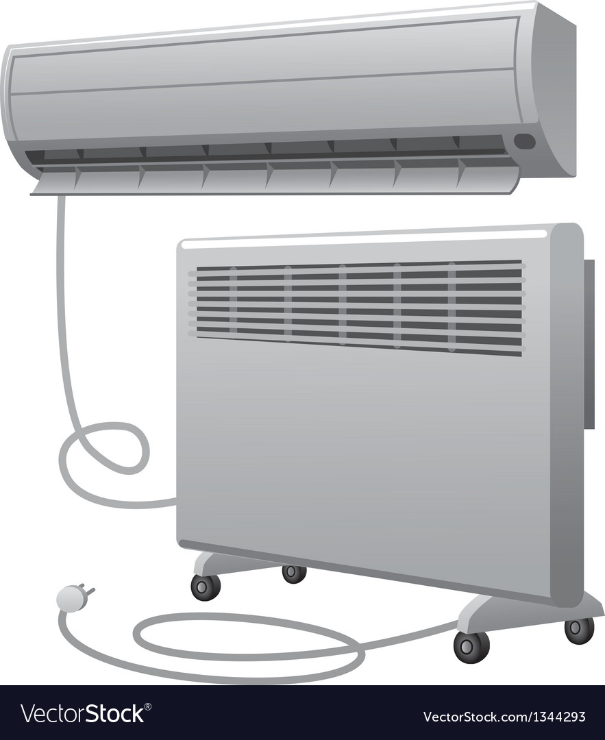 Air conditioning and oil heater vector | Price: 3 Credit (USD $3)
