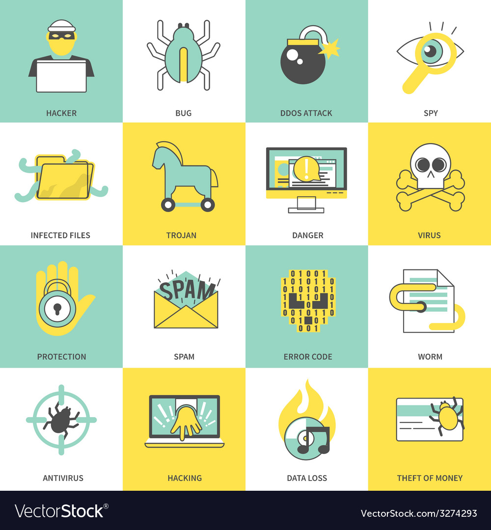 Hacker icons flat line vector | Price: 1 Credit (USD $1)