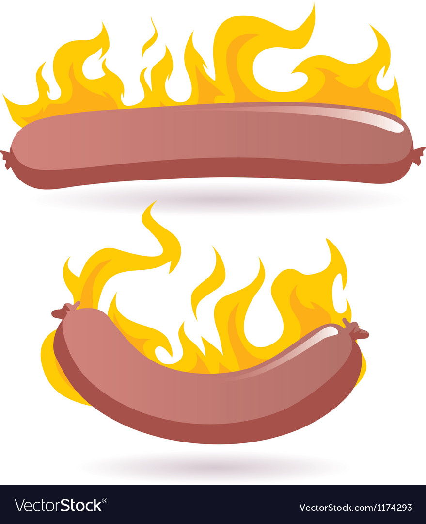 Hot dog in fire vector