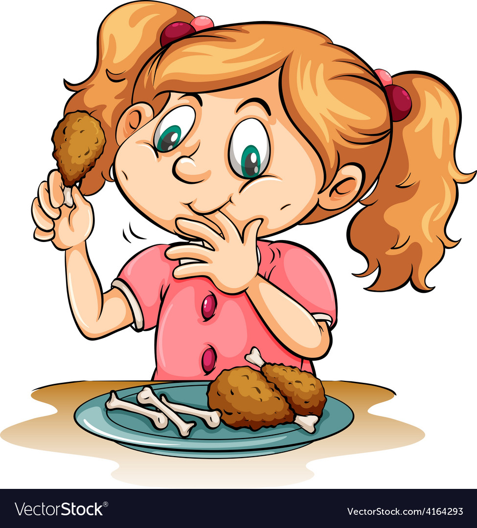 Hungry girl eating chicken vector | Price: 1 Credit (USD $1)