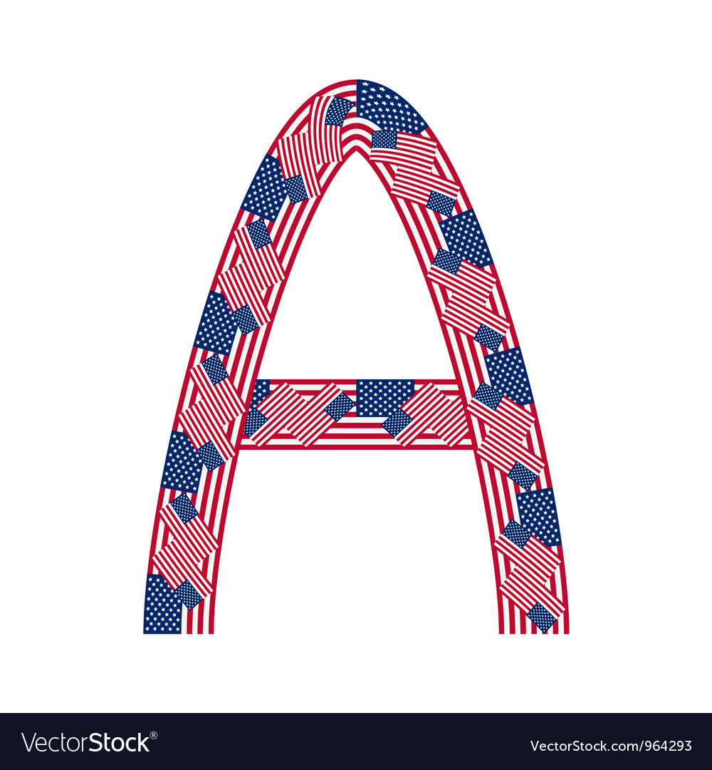 Letter a made of usa flags vector | Price: 1 Credit (USD $1)