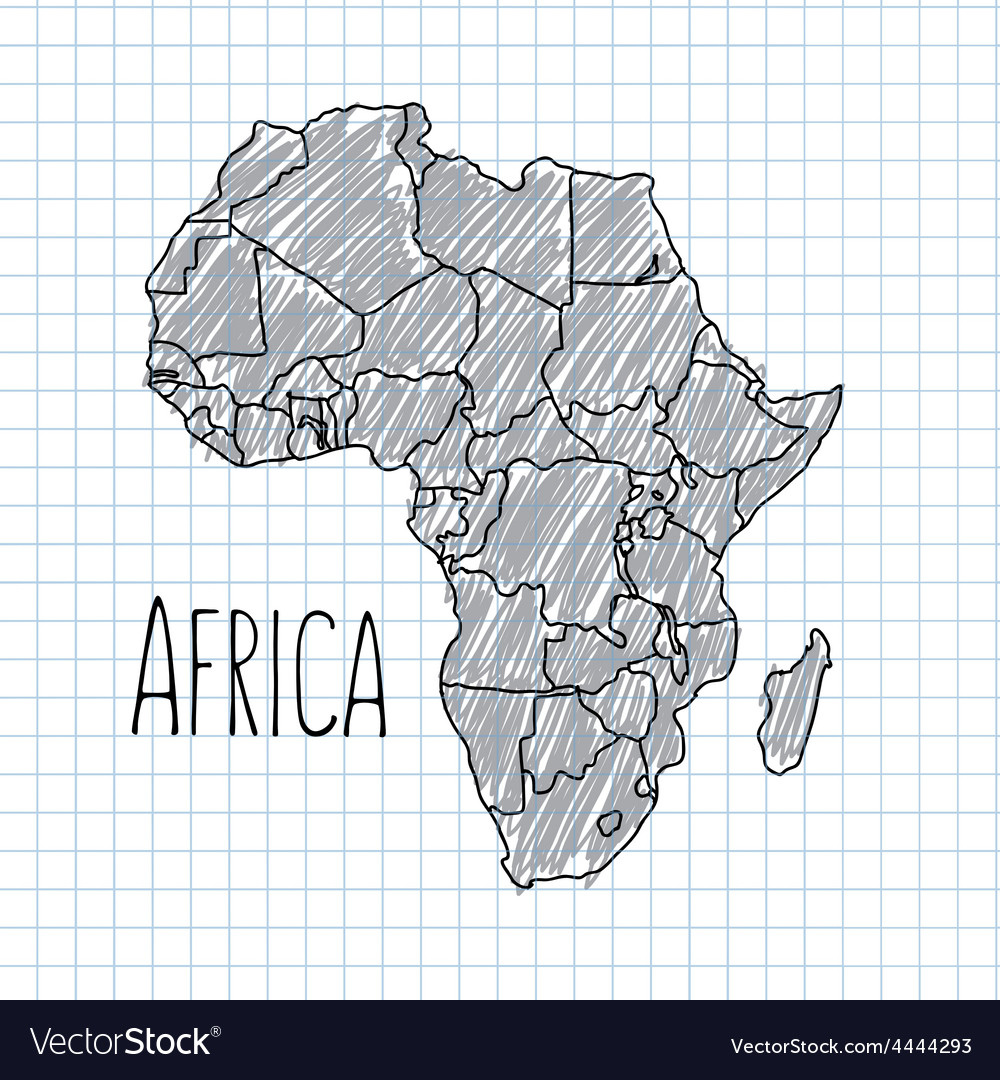 Pen hand drawn african map on paper vector | Price: 1 Credit (USD $1)
