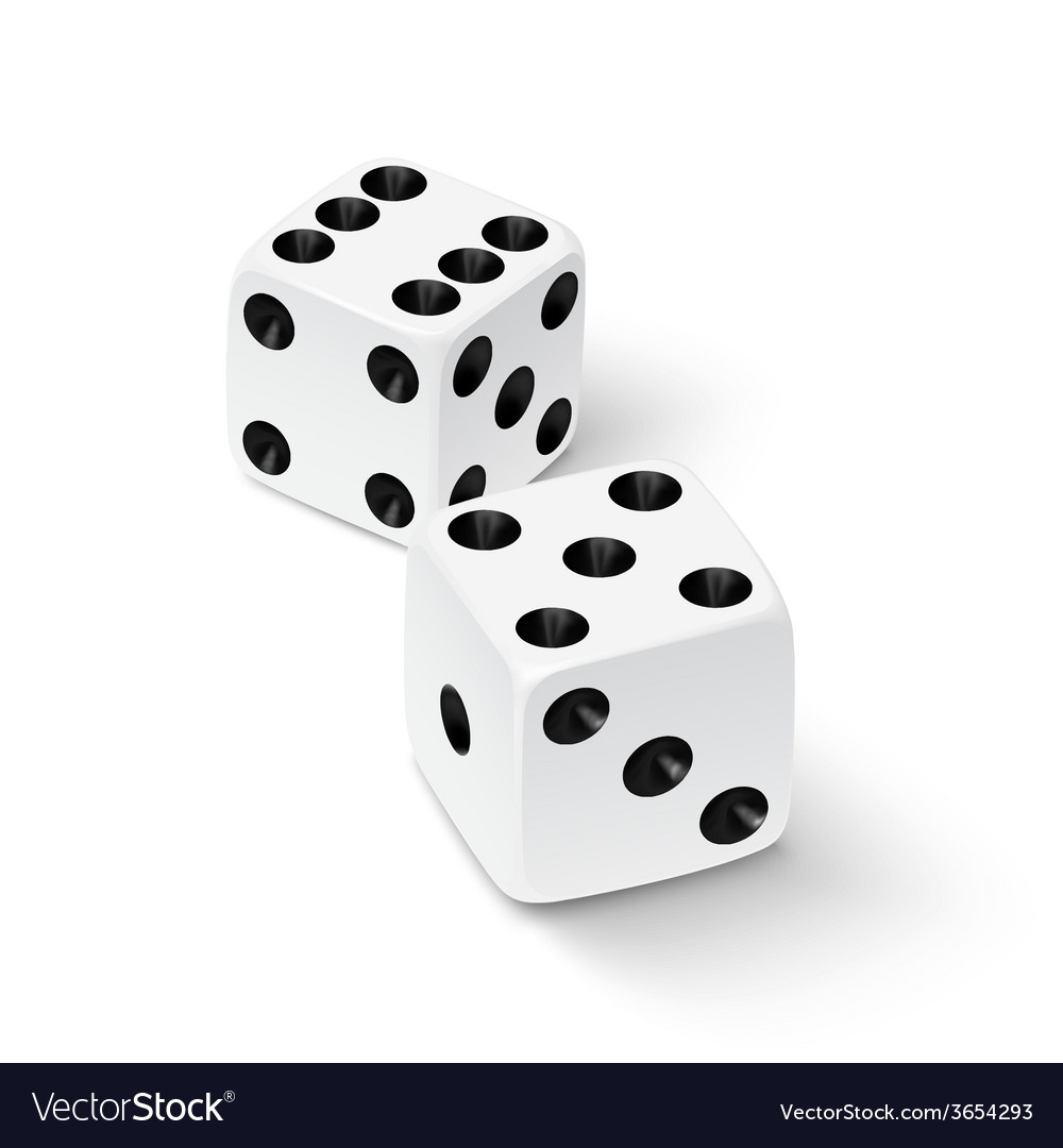 Realistic white dice icon vector | Price: 1 Credit (USD $1)