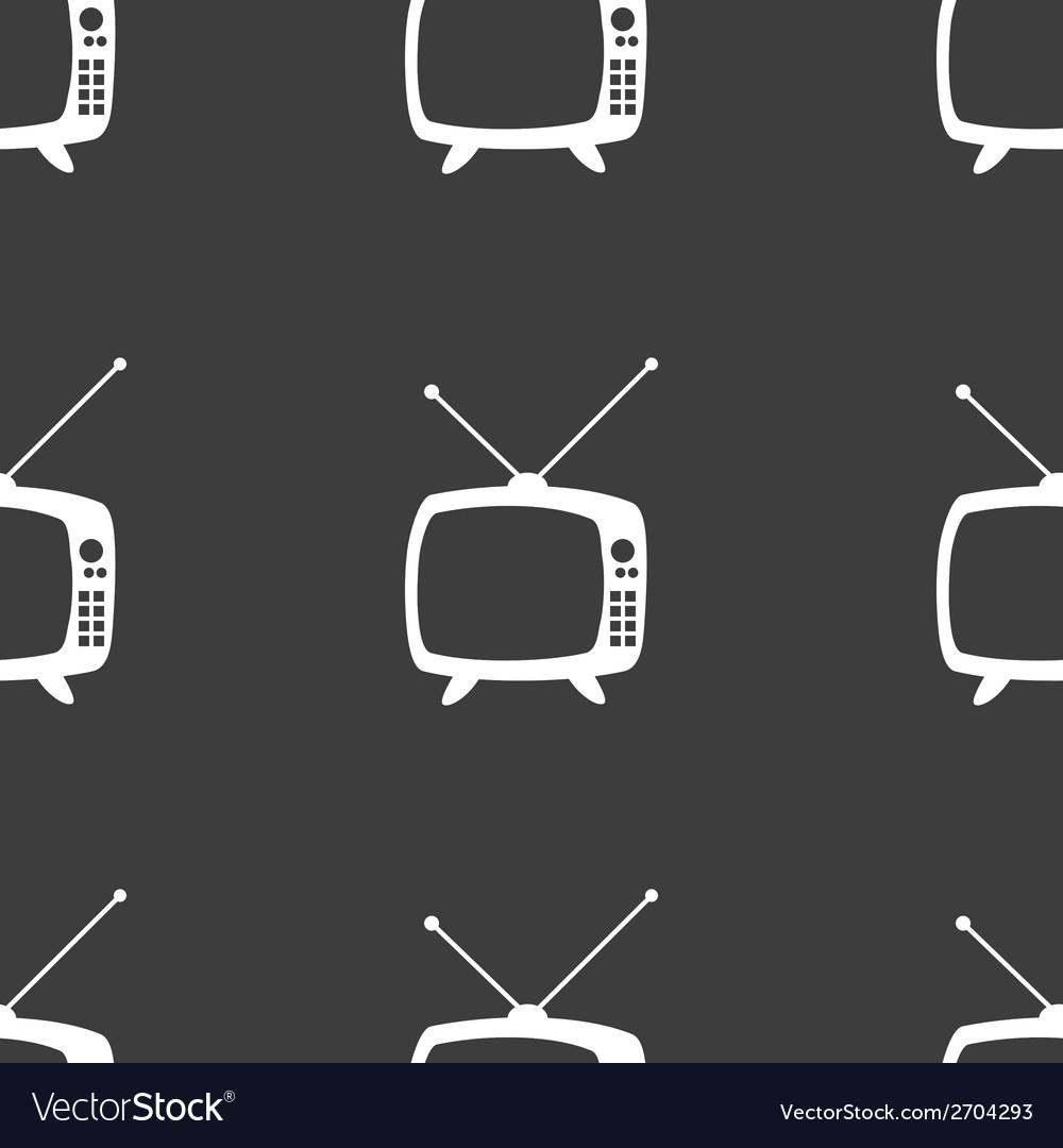 Retro tv web icon flat design seamless gray vector | Price: 1 Credit (USD $1)