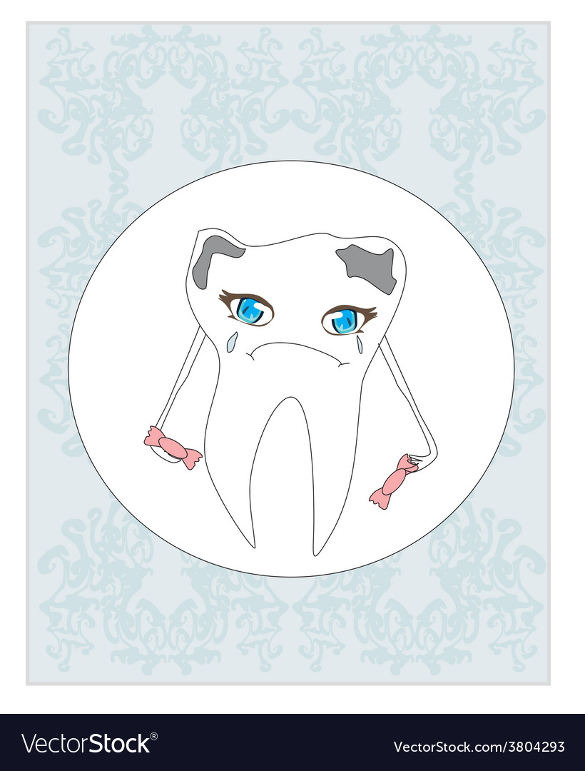 Sad tooth cartoon vector | Price: 1 Credit (USD $1)