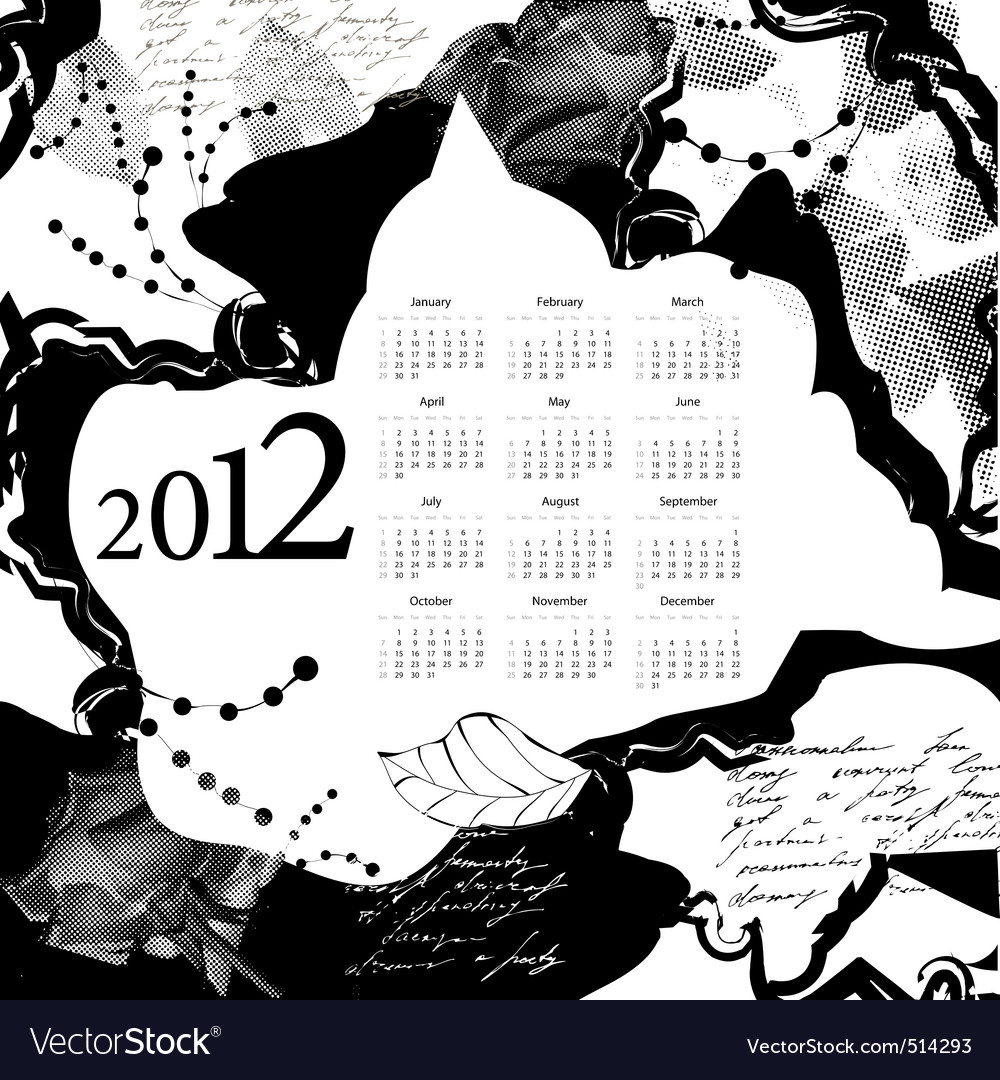 Template for calendar 2012 vector | Price: 1 Credit (USD $1)