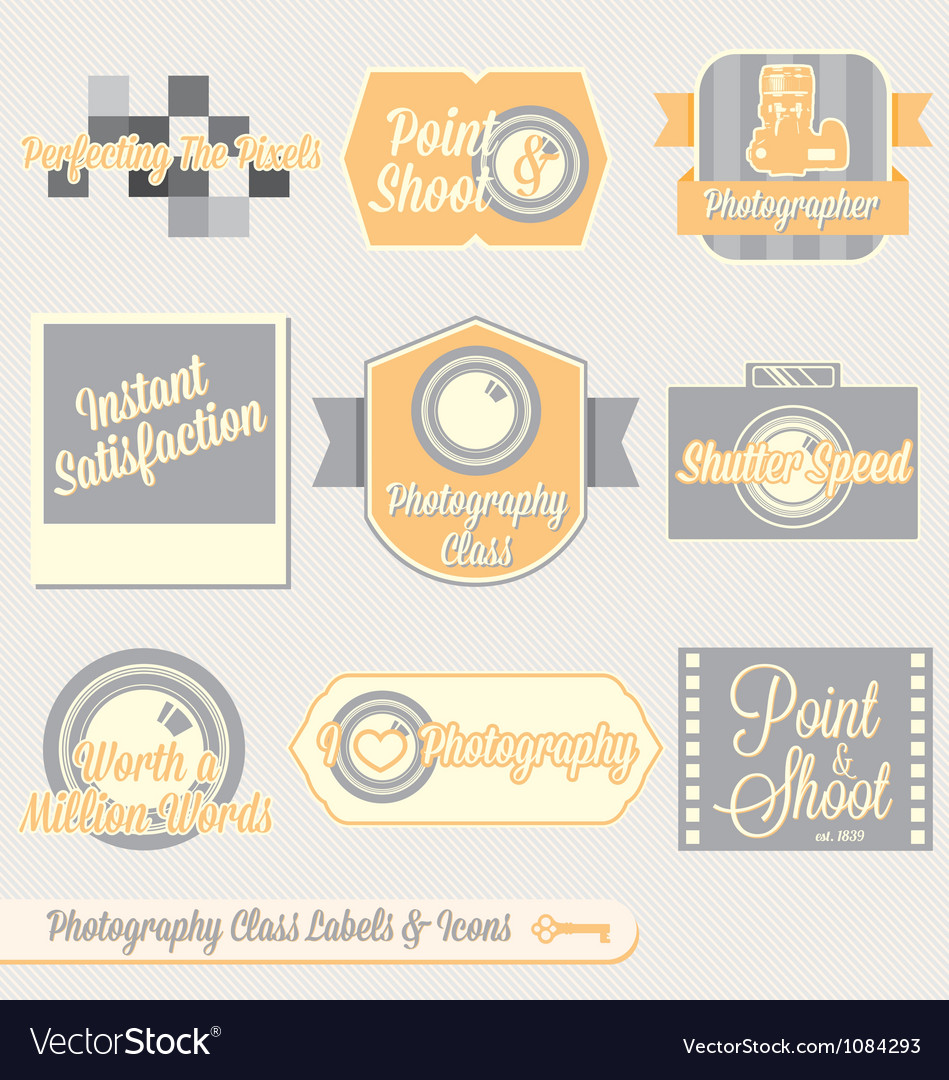Vintage photography class labels and icons vector | Price: 1 Credit (USD $1)