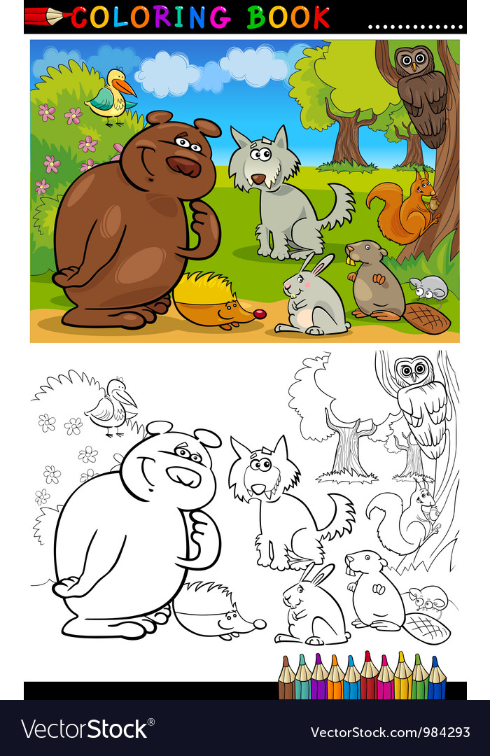 Wild animals for coloring vector | Price: 3 Credit (USD $3)