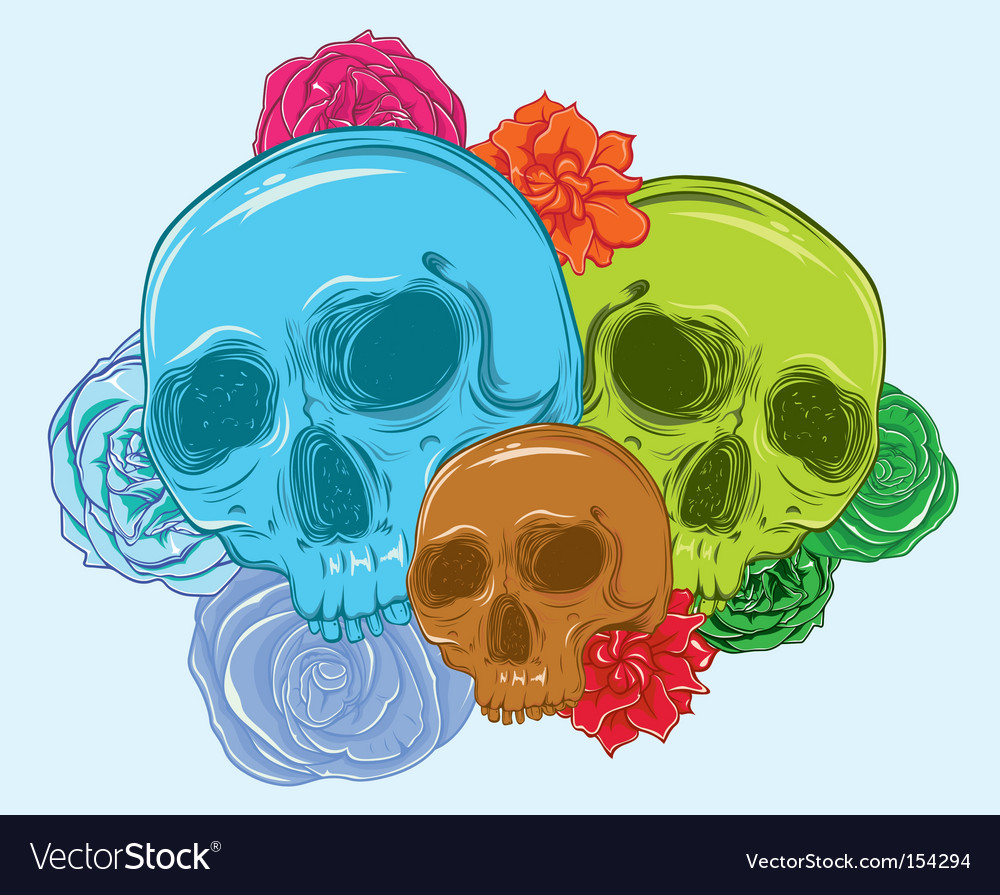 3 skulls full of roses vector | Price: 3 Credit (USD $3)