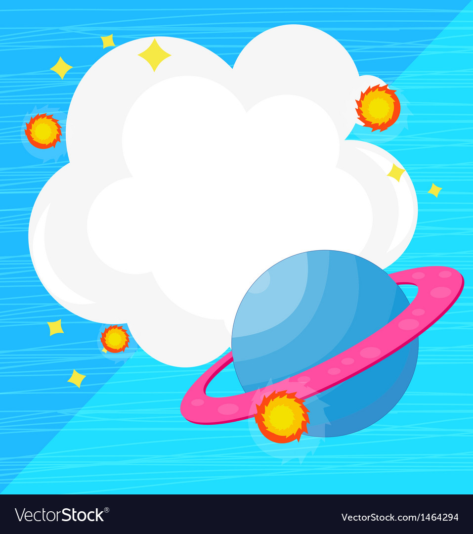 An empty cloud template with a planet vector | Price: 1 Credit (USD $1)