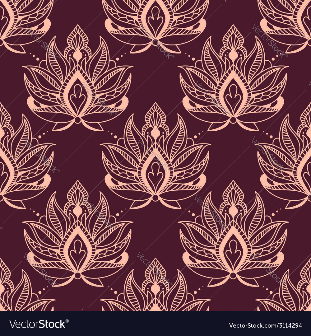 Burgundy and pink damask floral pattern vector | Price: 1 Credit (USD $1)