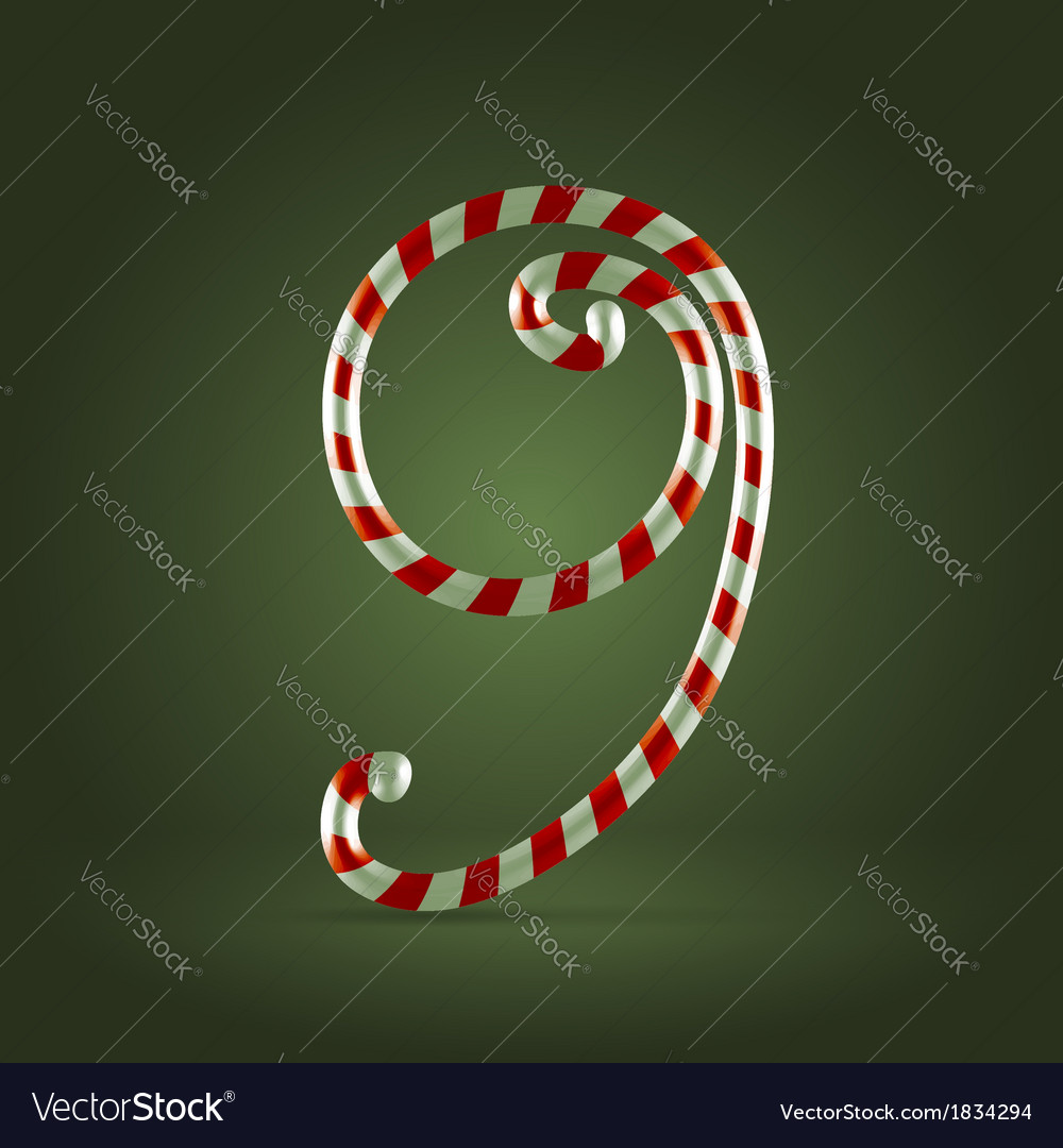 Candy cane abc 9 vector | Price:  Credit (USD $)